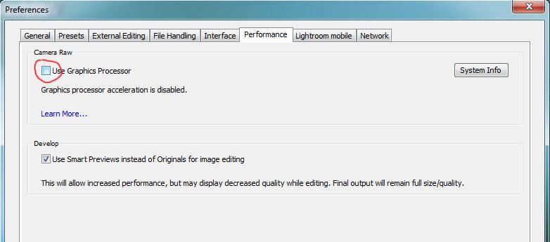 Использовать графический процессор в adobe Lightroom
